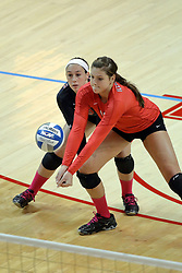 12 October 2013:  Ashley Rosch backed up by Emily Orrick during an NCAA womens volleyball match between the Missouri State Bears and the Illinois State Redbirds at Redbird Arena in Normal IL