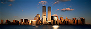 Wold trade Centre, Twin Towers at Sunset with Skyline
