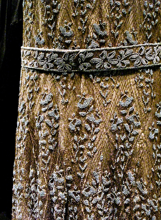 Detail of the beading patterns on a dress of the flapper era displayed at the London Museum.