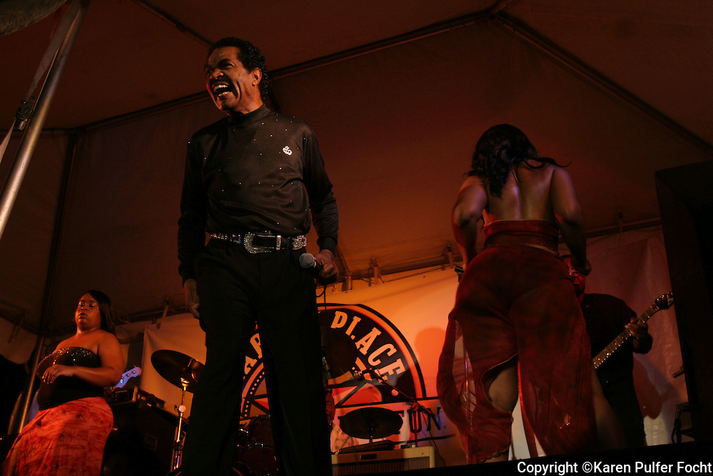 Bobby Rush performs in Memphis with the Booty Girls.