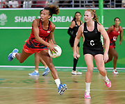 11th April 2018, Gold Coast Convention and Exhibition Centre, Gold Coast, Australia; Commonwealth Games day 7; Netball, England versus New Zealand; Serena Guthrie of England catches the ball mid court