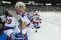 KELOWNA, CANADA - NOVEMBER 20: Brett Pollock #39 of Edmonton Oil Kings stands on the bench and celebrates a first period goal with teammates against the Kelowna Rockets on November 20, 2015 at Prospera Place in Kelowna, British Columbia, Canada.  (Photo by Marissa Baecker/Getty Images)  *** Local Caption *** Brett Pollock;
