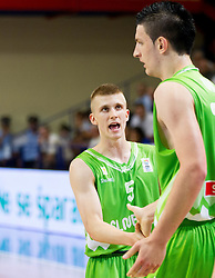 Luka Rupnik of Slovenia and Alen Omic of Slovenia during basketball match between National teams of Turkey and Slovenia in Qualifying Round of U20 Men European Championship Slovenia 2012, on July 17, 2012 in Domzale, Slovenia. (Photo by Vid Ponikvar / Sportida.com)