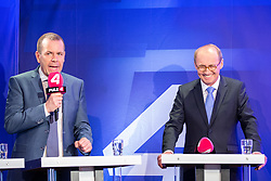 26.05.2019, Haus der Europaeischen Union, Wien, AUT, Runde der Spitzenkandidaten bei Puls 4, im Bild v. l. Harald Vilimsky (FPOe), Othmar Karas (OeVP)// during round of top candidates at Puls 4 at the Haus der Europaeischen Union in Vienna, Austria on 2019/05/26. EXPA Pictures © 2019, PhotoCredit: EXPA/ Florian Schroetter