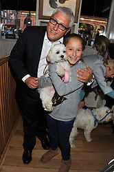 DAVID MELLOR, his daughter ALI MELLOR and their dog Luli at the 10th anniversary of George in association with The Dog's Trust held at George, 87-88 Mount Street, Mayfair, London on 13th September 2011.