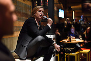 Zipi Livni, co-leader of the Zionist Union party and former justice minister and Hatnuah party leader, speaks to supporters during an elections campaign event in a bar on February 22, 2015 in Bitan Aharon. Photo by Gili Yaari