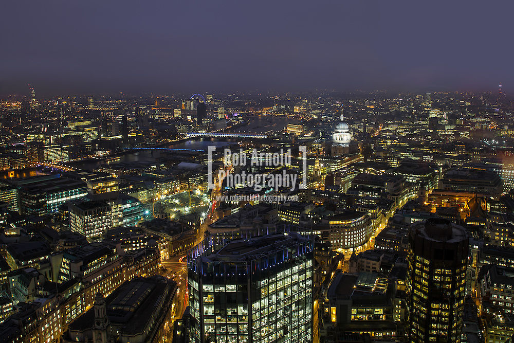 25/02/2013 - London, UK. A view over the London skyline from Tower 42 near Liverpool Street, London. Photo by Rob Arnold