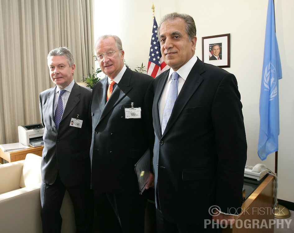 NEW YORK, NY - MAY-13-2007 - Karel De Gucht, Foreign Minister of Belgium, (left) King Albert II of Belgium (center) and  Zalmay Khalilzad, US Ambassador to Iraq and  President of the UN Security Council for the month of May (right). Belgium now holds one of the non-permamnent seats on the UN Security Council. (Reporters © Jock Fistick)