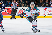 KELOWNA, CANADA - MARCH 4: Reid Gardiner #23 of the Kelowna Rockets skates against the Tri-City Americans on March 4, 2017 at Prospera Place in Kelowna, British Columbia, Canada.  (Photo by Marissa Baecker/Shoot the Breeze)  *** Local Caption ***