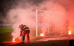 Firemen during football match between NK Maribor and NK Olimpija Ljubljana in 34th Round of Prva liga Telekom Slovenije 2017/18, on May 19, 2018, in Stadion Ljudski vrt, Maribor, Slovenia. Photo by Vid Ponikvar / Sportida