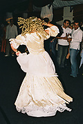 Historically dressed woman on the dancefloor, Posh at Addington Palace, UK, August, 2004