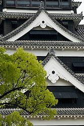 Detail of Kumamoto Castle in Kyushu Japan