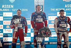 13.03.2016, Assen, BEL, FIM Eisspeedway Gladiators, Assen, im Bild Siegerehrung Sieger Dmitry Khomitsevich (RUS), zweiter 106 Dmitry Koltakov (RUS), dritter 333 Daniil Ivanov (RUS) // during the Astana Expo FIM Ice Speedway Gladiators World Championship in Assen, Belgium on 2016/03/13. EXPA Pictures &copy; 2016, PhotoCredit: EXPA/ Eibner-Pressefoto/ Stiefel<br /> <br /> *****ATTENTION - OUT of GER*****