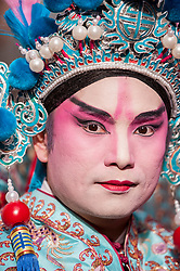 © Licensed to London News Pictures. 22/02/2015. Chinatown, London, UK. A performer dressed as a character from a Beijing opera at the annual Chinese New Year Parade which takes place around Chinatown to celebrate the Year of the Sheep. Photo credit : Stephen Chung/LNP