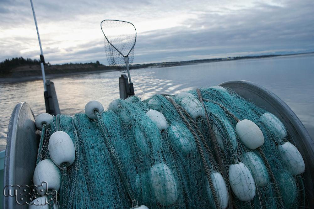 Fishing net on back of fishing boat