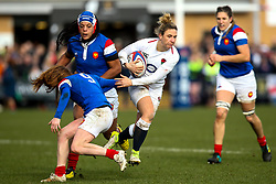 Sarah McKenna of England Women goes past Pauline Bourdon of France Women - Mandatory by-line: Robbie Stephenson/JMP - 10/02/2019 - RUGBY - Castle Park - Doncaster, England - England Women v France Women - Women's Six Nations