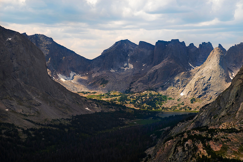Overlooking the valley of the North Fork of the Popo Agie River and the Cirque of the Towers in the Wind River Range, Shoshone National Forest, Wyoming