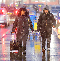 "© Licensed to London News Pictures. 12/01/2017. Luton, UK. Heavy snowfall at Luton Airport in Bedfordshire for the first time this winter, on January 12, 2017. Weather warnings are in place across the UK as a ""polar maritime airmass"" from northern Canada spreads across the country, bringing snow, ice, rain and freezing temperatures. Photo credit: Ben Cawthra/LNP"