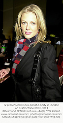 TV presenter DONNA AIR at a party in London on 31st October 2001.<br />