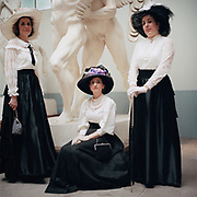Gloria Carpita (left) Delia Lungano (center) Chiara Serafinelli (right) pose in front of a marble statue inside the Hendrick Christian Andersen museum of sculptures in Rome on May 5, 2018. <br /> <br /> The women of the group &quot;Belle &eacute;poque,&quot; an historical female Italian club, met for an afternoon of culture walks followed by tea and biscuits around Rome as they are used to do weekly to re-live a particular historical period in all of its details and magic.