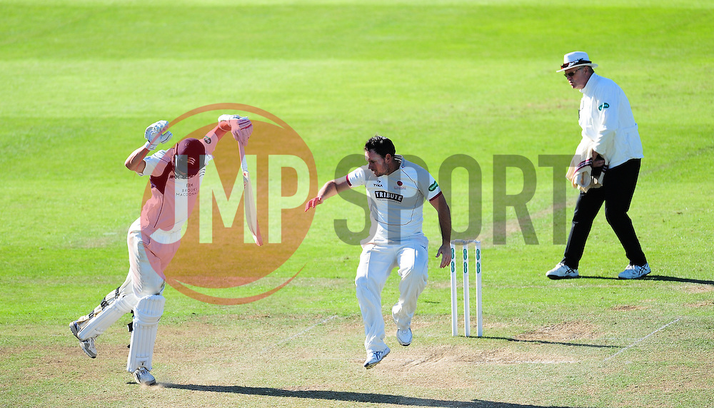 Jim Allenby and James Fuller get out the way of a delivery.  - Mandatory by-line: Alex Davidson/JMP - 13/07/2016 - CRICKET - Cooper Associates County Ground - Taunton, United Kingdom - Somerset v Middlesex - Day 4 - Specsavers County Championship Division One
