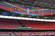 General view of The Emirates FA Cup banners hanging from the roof before the The FA Cup Final match between Manchester City and Watford at Wembley Stadium, London, England on 18 May 2019.