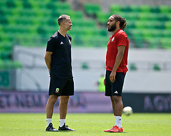 BUDAPEST, HUNGARY - Monday, June 10, 2019: Wales' manager Ryan Giggs (L) and captain Ashley Williams during a training session ahead of the UEFA Euro 2020 Qualifying Group E match between Hungary and Wales at the Ferencváros Stadion. (Pic by David Rawcliffe/Propaganda)