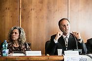 Potenza, Basilicata, Italia, 19/05/2016.<br /> La senatrice Monica Cirinn&agrave; e il presidente del Tribunale dei Minorenni di Bologna, Giuseppe Spadaro.<br /> <br /> Potenza, Basilicata, Italy, 19/05/2016<br /> The senator Monica Cirinn&agrave; and the president of Juvenil Courthouse in Bologna, Giuseppe Spadaro