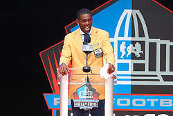August 4, 2018 - Canton, OH, U.S. - CANTON, OH - AUGUST 04:  Randy Moss makes his speech during the 2018 Hall of Fame Enshrinement Ceremony on August 4, 2018 at the Tom Benson Hall of Fame Stadium in Canton, Ohio  (Photo by Rich Graessle/Icon Sportswire) (Credit Image: © Rich Graessle/Icon SMI via ZUMA Press)