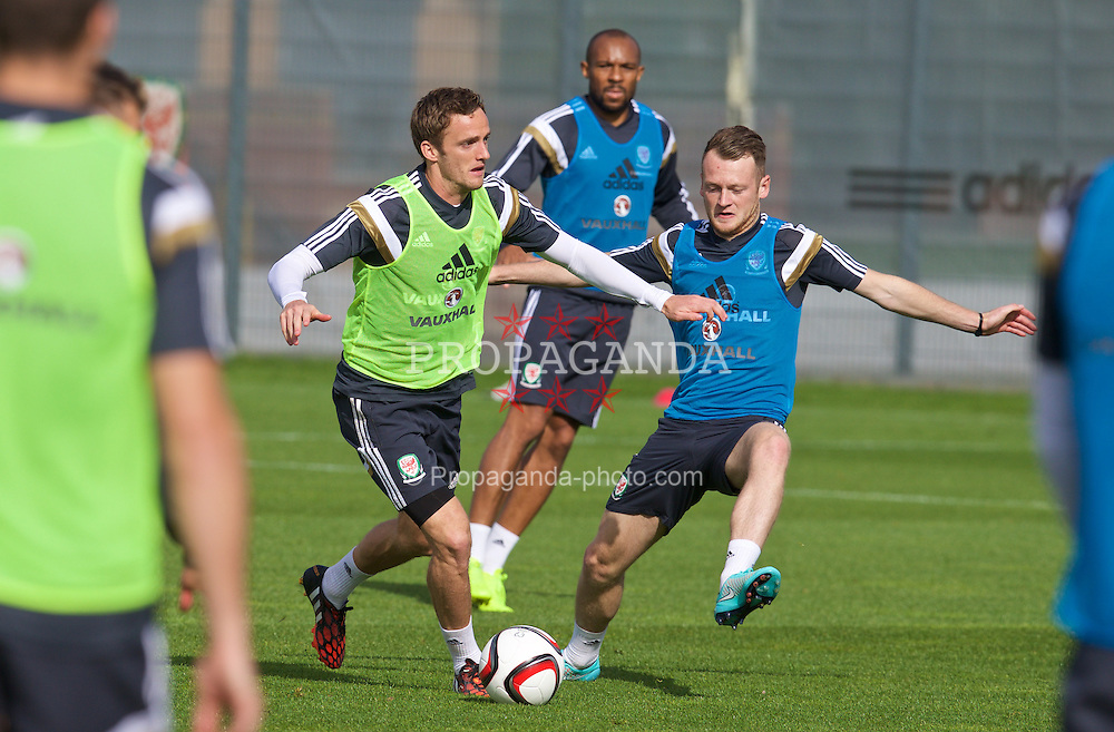 NEWPORT, WALES - Wednesday, October 8, 2014: Wales' Andy King training at Dragon Park National Football Development Centre ahead of the UEFA Euro 2016 qualifying match against Bosnia and Herzegovina. (Pic by David Rawcliffe/Propaganda)