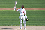 Sussex batsman Chris Nash raises his bat to salute the crowd on reaching is century during the Specsavers County Champ Div 2 match between Sussex County Cricket Club and Essex County Cricket Club at the 1st Central County Ground, Hove, United Kingdom on 17 April 2016. Photo by Bennett Dean.