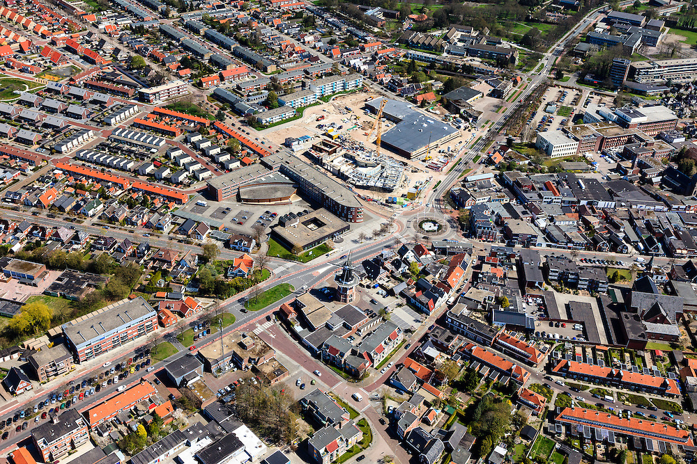 Nederland, Groningen, Gemeente Oldambt,  01-05-2013; centrum Winschoten met  korenmolen Edens aan de Oudewerfslaan, hoek Nassaustraat.<br /> Small provincial town, regional centre (northeast Holland).<br /> luchtfoto (toeslag op standard tarieven);<br /> aerial photo (additional fee required);<br /> copyright foto/photo Siebe Swart