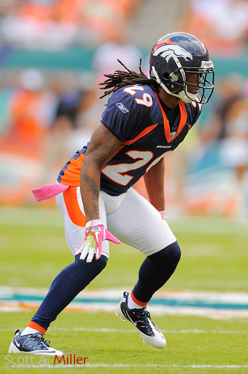 Denver Broncos defensive back Jonathan Wilhite (29) during the Broncos 18-15 overtime win against the Miami Dolphins at Sun Life Stadium on Oct. 22, 2011 in Miami Gardens, Fla.  ...©2011 Scott A. Miller
