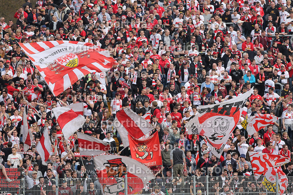 02.04.2016, Merck Stadion am Boellenfalltor, Darmstadt, GER, 1. FBL, SV Darmstadt 98 vs VfB Stuttgart, 28. Runde, im Bild Stuttgart Fan Block // during the German Bundesliga 28th round match between SV Darmstadt 98 and VfB Stuttgart at the Merck Stadion am Boellenfalltor in Darmstadt, Germany on 2016/04/02. EXPA Pictures &copy; 2016, PhotoCredit: EXPA/ Eibner-Pressefoto/ Bermel<br /> <br /> *****ATTENTION - OUT of GER*****