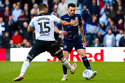 Bradley Johnson of Derby County attempts to block an attack by Jack Harrison of Leeds United - Mandatory by-line: Ryan Crockett/JMP - 11/05/2019 - FOOTBALL - Pride Park Stadium - Derby, England - Derby County v Leeds United - Sky Bet Championship Play-off Semi Final 1st Leg