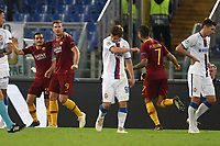 Edin Dzeko of AS Roma (2L) celebrates with team mates after scoring the goal  of 2-0 during the Uefa Champions League 2018/2019 Group G football match between AS Roma and CSKA Moscow at Olimpico stadium Allianz Stadium, Rome, October, 23, 2018 <br />  Foto Andrea Staccioli / Insidefoto