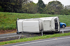 Wellington-Campervan blown over on motorway
