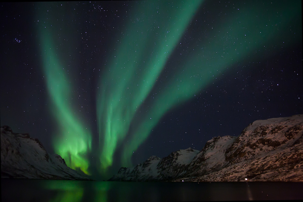 The Aurora Borealis (Northern Lights) at Ersfjordbotn in Tromso, Norway with a trident shape.