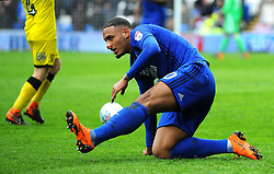 Kenneth Zohore of Cardiff City is fouled by Marvin Sordell of Burton Albion - Mandatory by-line: Nizaam Jones/JMP- 30/03/2018 -  FOOTBALL -  Cardiff City Stadium- Cardiff, Wales -  Cardiff City v Burton Albion - Sky Bet Championship