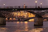 France. Paris. 1st district Art bridge on the Seine river at dusk / le pont des arts sur la Seine