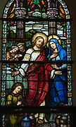 Stained glass window at St. Francis Xavier Cathedral in Green Bay depicts Jesus and his mother at the wedding feast at Cana. (Sam Lucero photo)
