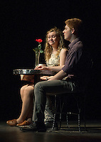 """Cordelia Penney and William Crowell on a blind date during dress rehearsal for """"Sure Thing""""  one of six short comedies in Gilford High School's """"All In The Timing"""" Tuesday afternoon.  (Karen Bobotas/for the Laconia Daily Sun)"""