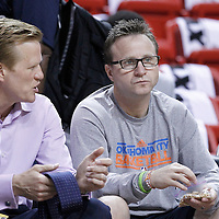 21 June 2012: Oklahoma City Thunder head coach Scott Brooks is seen talking to Ric Bucher prior the Miami Heat 121-106 victory over the Oklahoma City Thunder, in Game 5 of the 2012 NBA Finals, at the AmericanAirlinesArena, Miami, Florida, USA. The Miami Heat wins the series 4-1.