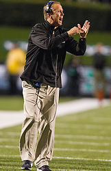 Oct 9, 2015; Huntington, WV, USA; Southern Miss Golden Eagles head coach Todd Monken calls a timeout during the second quarter against the Marshall Thundering Herd at Joan C. Edwards Stadium. Mandatory Credit: Ben Queen-USA TODAY Sports