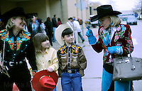 DALLAS, TX - FEBRUARY 07:  The Senator walks with her children, Houston and Bailey, through the Fort Worth Stock Show & Rodeo...  Senior Senator and candidate for Texas governor, Kay Bailey Hutchison,  campaigns through Texas in a close race against Governor Rick Perry for the republican nomination, February 07, 2010 in Dallas, Texas. (Photo by Melina Mara/The Washington Post)..