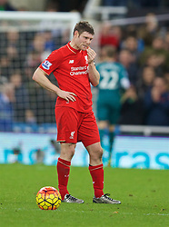 NEWCASTLE-UPON-TYNE, ENGLAND - Sunday, December 6, 2015: Liverpool's James Milner looks dejected after the 2-0 defeat to Newcastle United during the Premier League match at St. James' Park. (Pic by David Rawcliffe/Propaganda)