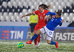 CESENA, ITALY - Tuesday, January 22, 2019: Wales' Angharad James (L) and Italy's Elisa Bartoli during the International Friendly between Italy and Wales at the Stadio Dino Manuzzi. (Pic by David Rawcliffe/Propaganda)