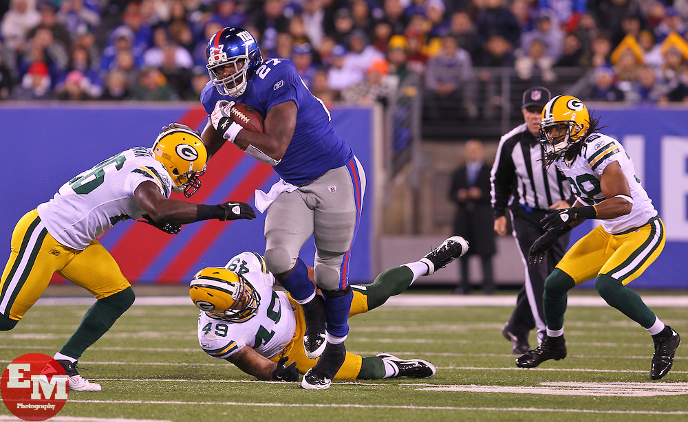 Dec 4, 2011; East Rutherford, NJ, USA; New York Giants running back Brandon Jacobs (27) runs with the ball during the second half at MetLife Stadium. The Packers defeated the Giants 38-35.
