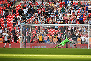 Omar Bugiel of Bromley FC (25) misses his penalty during the penalty shoot out of the FA Trophy match between Brackley Town and Bromley at Wembley Stadium, London, England on 20 May 2018. Picture by Stephen Wright.