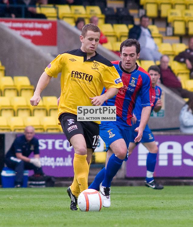David Sinclair is tracked by Jamie Stevenson, Livingston v Inverness